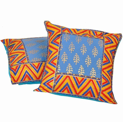 Little India Sanganeri Gold Print Cotton Cushion Cover Pair