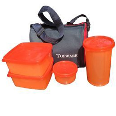 Topware Lunch Box With 4 Pieces Food Grade Containers And Insulated Bag Carry To Office