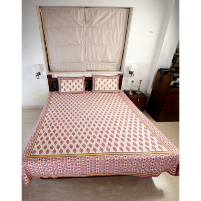 Jodhaa Double Bedsheet Set In Cotton Printed In Ivory Blue And Red With Red Border