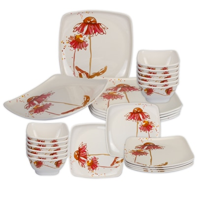 Cello Hestia Melamine Dinner Set (24 Pcs) - Pinky Flower