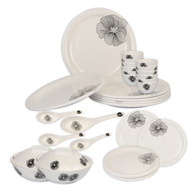 Cello Platino Melamine Dinner Set (32 Pcs) - Line Flower