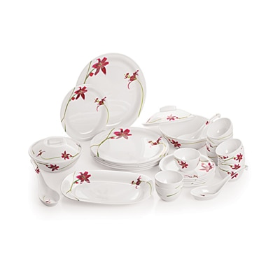 Cello Platino Melamine Dinner Set (32 Pcs) - Red Petal