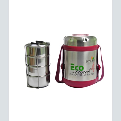 Ecoline 4 Stainless Steel Containers Insulated Eco Lunch Box
