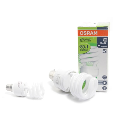 Osram 18 Watts Super Saver Mini Twister Shaped CFL Saves 80% Electricity (Set Of 2)