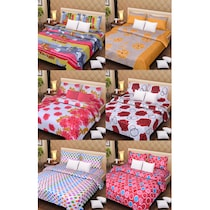 100% Cotton Bedsheets Set Of 6 With 12 Pillow Covers