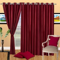 Dream Decor Pack Of 3 Plain Eyelet Door Curtain Maroon