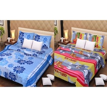 100% Cotton Bedsheets Set Of 2 With 4 Pillow Covers