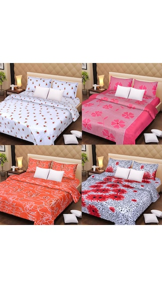 100% Cotton Bedsheets Set Of 4 With 8 Pillow Covers