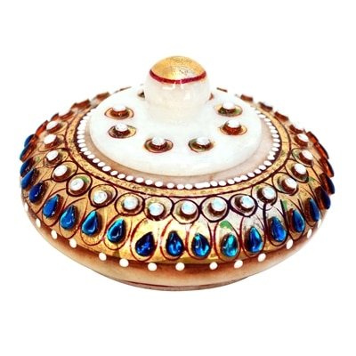 Handicraft Paradice Sindoor Dani In Marble Embellished With Rich Blue Kundans