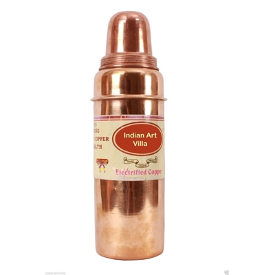 Indian Art Villa Copper Thermos Water Bottle With Lid For Health Benefits - 9598654