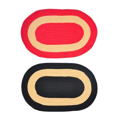 JARS Collections Set Of 2 Attractive Oval Shaped Door Mat - 19603534