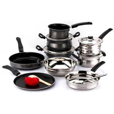 Mahavir 14 Pc Stainless Steel And Non Stick Cookware Set Combo