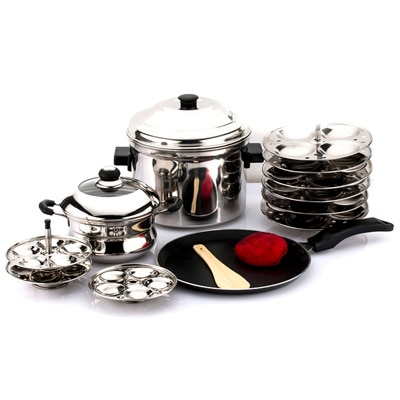 Mahavir 3 Pc With Idly And Mini Idly Cooker Combo With Dosa Tawa