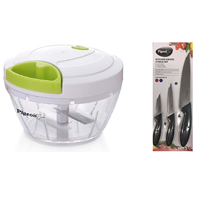 Pigeon Green Handy Mini Manual Chopper With 3 Knives