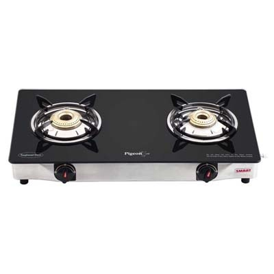 Pigeon Smart Glass Top Square 2 Burner Stainless Steel Gas Stove