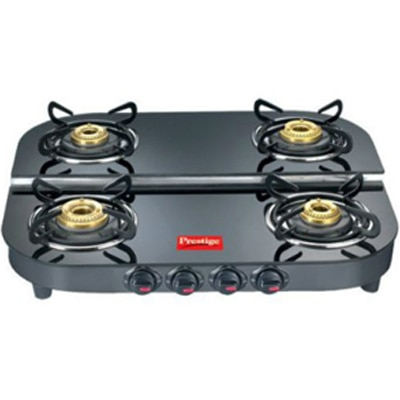 Prestige 4 Burner Gas Stove - Black