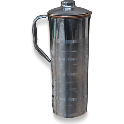 Prisha India Craft Copper Jug Outside Stainless Steel Utensils For Ayurveda Healing Water Pitcher - 7212489