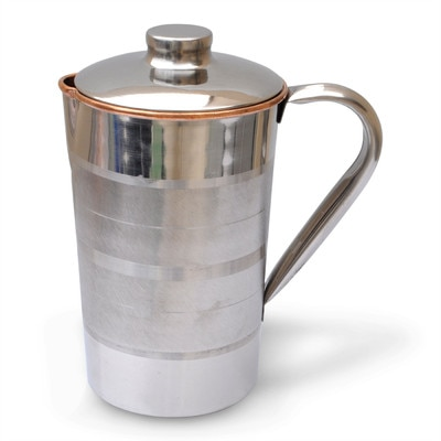 Prisha India Craft Copper Jug Outside Stainless Steel Utensils For Ayurveda Healing Water Pitcher