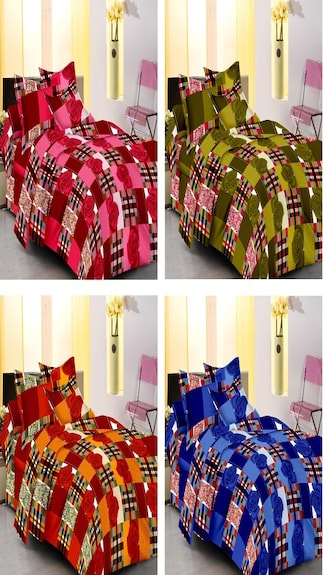 100% Cotton Double Bedsheets Set Of 4 With 8 Pillow Covers
