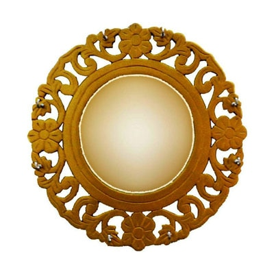 Shah Kreations Beautifully Wooden Carved Golden Mirror Frame Cum Key Hanger