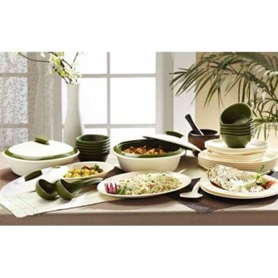 Signoraware Dinner Set With Double Wall Casseroles (Set Of 36 Pcs)