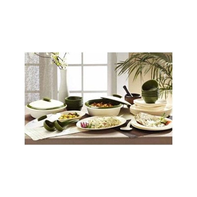 Signoraware Mat Finish Dinner Set With Double Wall Casseroles Set Of 36 Pcs
