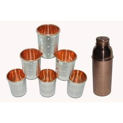 Tera India Raghav Half Litre Copper Water Bottle And Copper Steel Glasses Combo Set