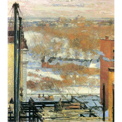 The Museum Outlet The Hut And The Skyscrapers By Hassam - Fine Art Canvas Print