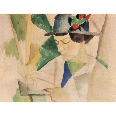The Museum Outlet The Wife Of The Painter Reading By August Macke - Fine Art Print