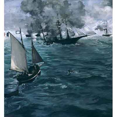 The Museum Outlet Manet - The Battle Of The Kearsarge And The Alabama - Wall Art Print
