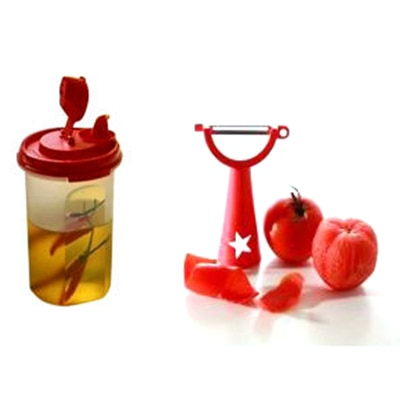 Tupperware Vegetable Peeler And Mini Magic Flow Dispenser (440 Ml)