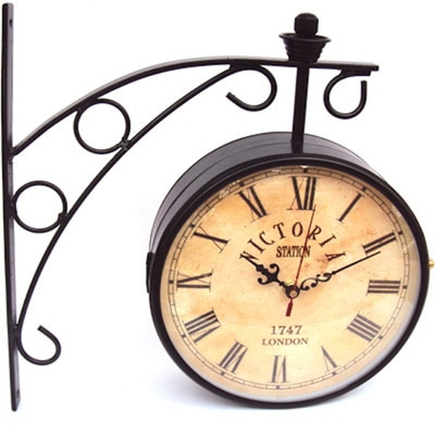 Victoria Station 8 Inch Double Side Antique Dial Analog Wall Clock