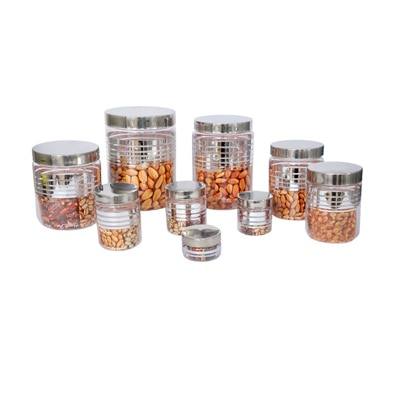Smartkshop 9 Pcs Pet Container Set Combo (Silver Lid)