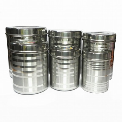 Gauba Traders Set Of 6 Stainless Steel Deep Canister/Container