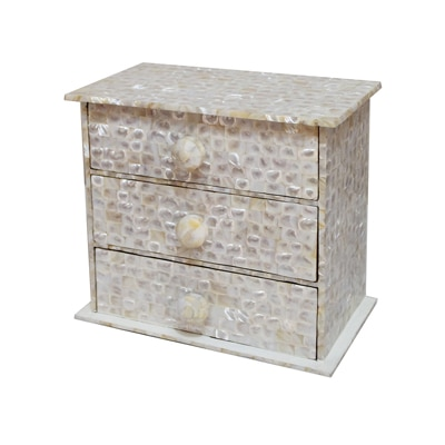 KKD Chest Of 3 Drawers Of White Mother Of Pearl