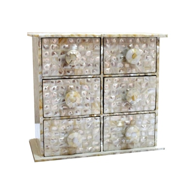 KKD Chest Of 6 Drawers Of White Mother Of Pearl