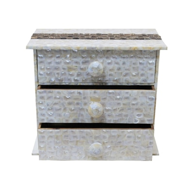 KKD Chest Of 3 Drawers Of White Mother Of Pearl And Tadiwood Band