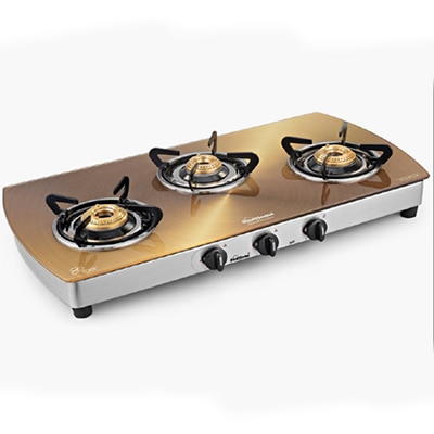 Sunflame 3 Burner-SS Crystal Toughened Glass Cooktop Metallic Gold