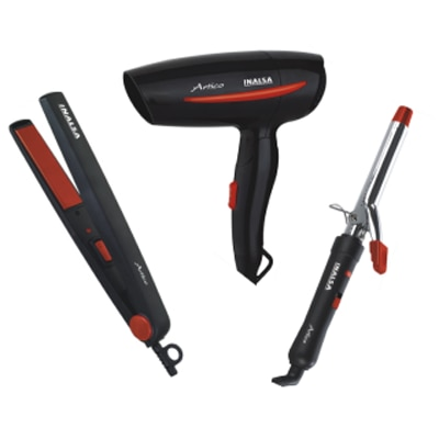 Inalsa Artico Hair Styling Set (Combo Of Hair Straightener  Hair Dryer, Hair Curler) (Black & Red)