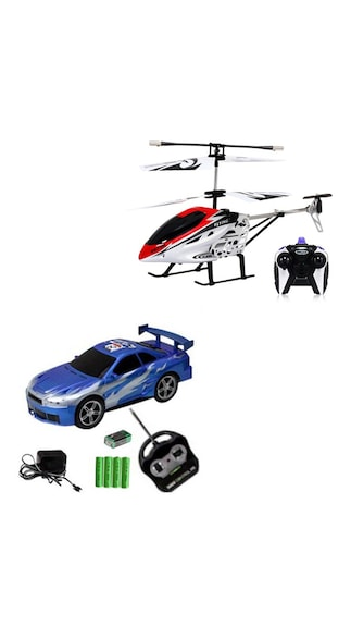 Smartkshop Rechargeable Wireless Remote Control Car And Helicopter Combo