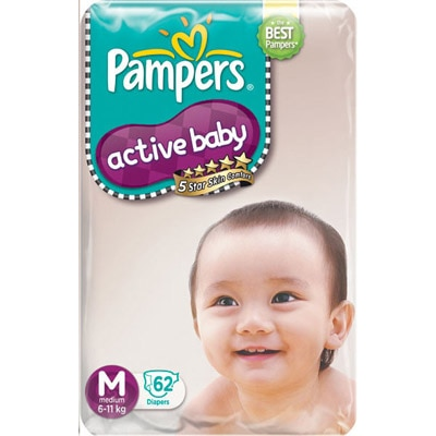 Pampers Active Baby Regular Diaper M - 62 Pcs