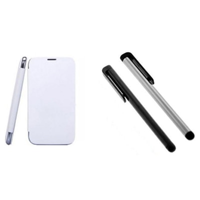 KS Combo Of Flip Cover And Stylus For Karbonn A21 (White)