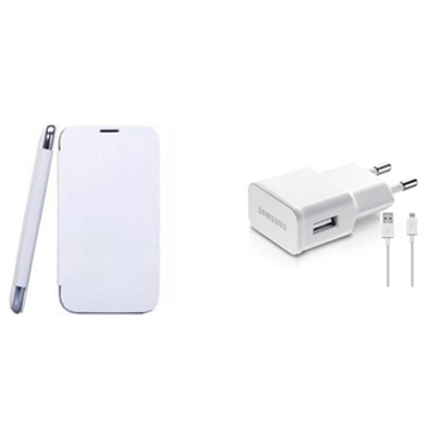 KS Combo Of Flip Cover And 2 In One Charger For Karbonn A21 (White)