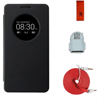 ASE Circle Flip Cover For Asus Zenfone5 Flip Cover With OTG USB Reader,3mtr. AUX Cable,Card Reader Combo Set (Black)