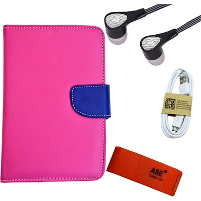ASE 7 Inch Tablet Cover For IBall Slide Tab 3G With Card Reader Data Cable And Hands Free (Pink) (Pink)