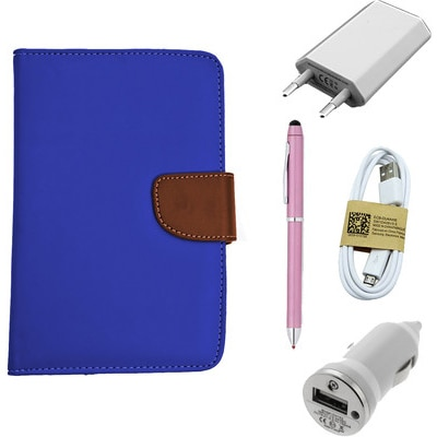 ASE 7 Inch Tablet Cover For IBall Slide Tab 3G With USB Travel Charger/Stylus Pen/Data Cable And Car Dock (Blue)