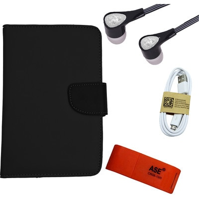 ASE 7 Inch Tablet Cover For IBall 3G Q7271 With Card Reader/Data Cable And Handsfree (Black)