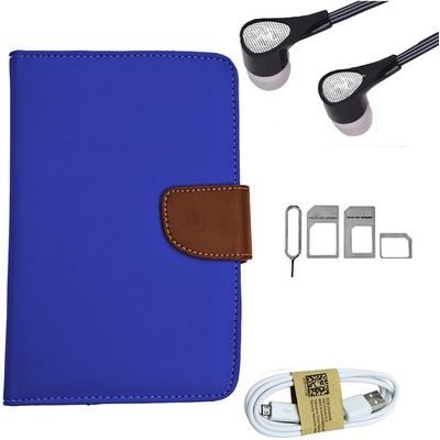 ASE 7 Inch Tablet Cover For IBall Slide Tab 3G With Handsfree/Data Cable And Noosy Sim Adapter (Blue)
