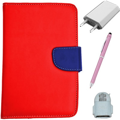 ASE 7 Inch Tablet Cover For IBall Slide Tab 3G With Handsfree/Data Cable And Noosy Sim Adapter (Multicolor)