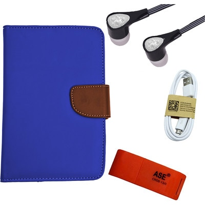 ASE 7 Inch Tablet Cover For IBall Slide Tab 3G With Card Reader/Data Cable And Handsfree (Blue)